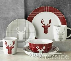 30pc Highland Stag Dinner Set Christmas Gift Crockery Dining Plates Bowls Mug