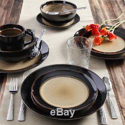 32 Piece Round Dinnerware Set Dishes Dinner Stoneware Plates Kitchen Set for 8
