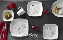 32 Piece Square Dinnerware Set Dishes Dinner Plates Kitchen Set for 8 Corelle