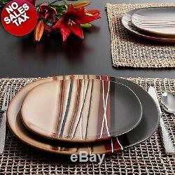 32 Piece Square Dinnerware Set Dishes Dinner Stoneware Plates Kitchen Set for 8