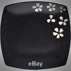 32 Piece Square Dinnerware Set Stoneware Dish Plates Dinner Service For 8 Black