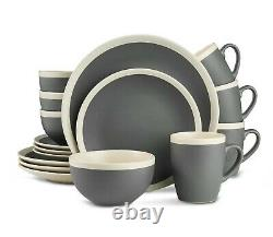 32 Piece Stoneware Dinnerware Set Service for 8 Stone Lain Two Tone