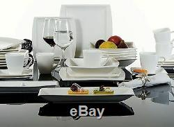 32PC Complete Dinner Set Square Plates Cups Saucers Crockery Ceramic Dining Set
