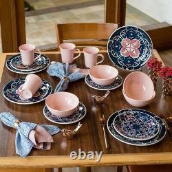 32pc Pink Blue Dinnerware Set Kitchen Dinner Plate Bowl Dish White Earthenware