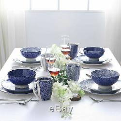 32pcs Dinner Set Porcelain Plates Bowls Dinnerware Crockery 8 Place Setting Blue