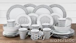32pcs Dinner Set Porcelain Plates Bowls Dinnerware Crockery 8 Place Setting Grey