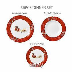 36 Pc Porcelain Stoneware Crockery Dinner Set Dining Plates Bowls CHRISTMAS DEER