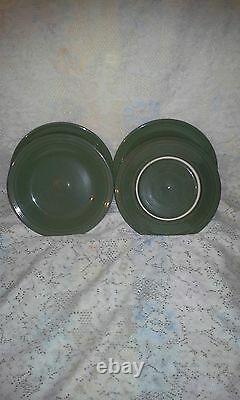 4 DINNER PLATES set lot sage green HOMER LAUGHLIN FIESTA WARE 10.5 NEW