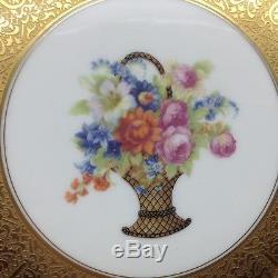 4 Heinrich Heavy Encrusted Gold Gilt Flower Bouquet 11 Dinner Plates Lot Set