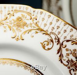 4 Opulent Antique Royal Doulton Raised Gold Enamel & Cobalt Dinner Plate Set