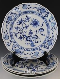 4 Pc Vintage Signed Meissen Blue Onion German Porcelain 10 Dinner Plate Set