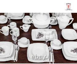 41 pcs Square Dinner Serving Set LISA 12 people Plate Soup Tureen Gravy Boat