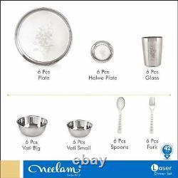 42 Pcs Stainless Steel Dinner Service Set Designer Plates Bowl Glass Spoon Fork