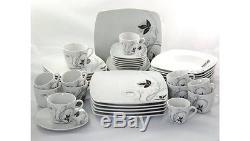 42 pcs Dinner Plates Set Porcelain Square Floral Tableware Dinnerware Cup Saucer