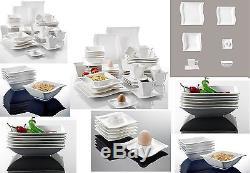 42PC Complete Dinner Set Wave Plates Bowls Ceramic Dinnerware Kitchen Dining Set