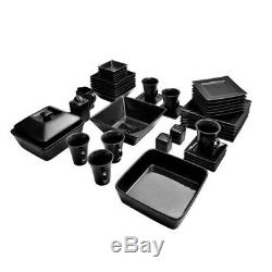 45 Piece Dinnerware Set Square Kitchen Banquet Dinner Plates Cups Dishes, Black