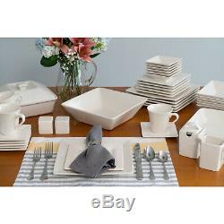 45 Piece Square Banquet Dinnerware Set for 6 Plates Stoneware Dishes WHITE Serve