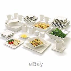 45 Piece White Dishes Dinnerware Set Square Banquet Plates Bowls Kitchen Dinner