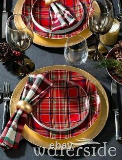 45Pc Porcelain Crockery Dinner Plates Bowl Mugs Tableware Dinning Set Red Tartan