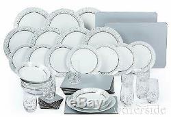 50Pc Porcelain White & Silver Dinner Side Plate Bowl Set Dinnerware Crockery Set