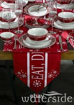 50pc Christmas Dinner Set Plate Bowl Platter Table Runner Placemat Napkin Rings