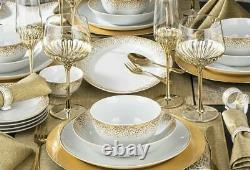 50pc Christmas Gold Dinner Set Plates Platter Table Runner Placemat Napkin Rings