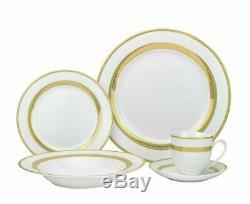 57 Piece Lana Bone China Dinner Dish Set for 8 White Plates with 24K Gold Trim