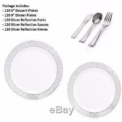 600pc Party Set 120 Settings Dessert+Dinner Plates+ Cutlery White/Silver Diamond