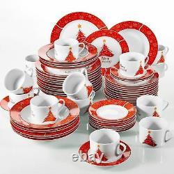 60Pcs Xmas Christmas Tree Dinner Set Red Porcelain Tableware Plates Bowls Gift