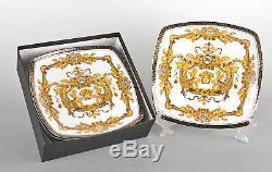 7.5 Set of 6 Euro Porcelain Medusa Fine Bone China Dessert Plates White & Gold