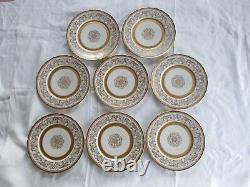 8 Gold Encrusted 11 Porcelain Dinner Plates Marked FRANCE Scrolled Plate Set