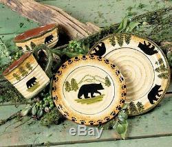 8-pc Set Lodge Cabin Country Rustic Black Bear Dinner & Salad Plate Bowl Cup Mug