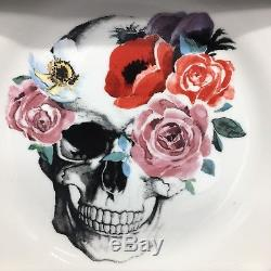 8pc Ciroa Wicked Skull Pink Red Rose Dinner Salad Plate Set Halloween Fine China