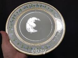 A Raynaud Ceralene Limoges Morning Glory Ring Dinner Plate Set 9- 10 3/4 D Gold