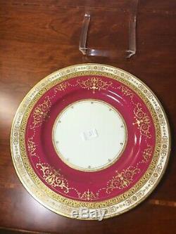 ANTIQUE MINTON Gold red porcelain PLATE 10.5 England c1912 set of 4