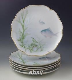 ANTIQUE c. 1920's ROSENTHAL FISH SEALIFE SHELLS SET OF 6 DINNER PLATES 9