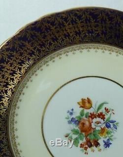 AYNSLEY china CARDIFF Set of 12 Dinner Plates 10-3/8 Gold Filigree Cobalt Rim