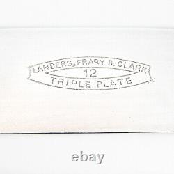 Agate Handle Dinner Knives Set Silver Plated Blades Agate Rests 1870