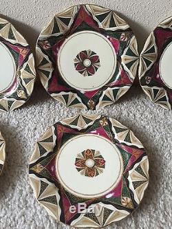 Alhambra Hand painted Plates SET OF 11 Super RARE Pattern! Dinner wear Antique