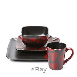 American Atelier Dinnerware Set 16pc Dishes Plates Square Red Black Dinner #4166