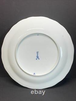 Antique 19th C. Meissen Rich Blue Red Onion Dinner Plate 9.25 Width Set Of 4