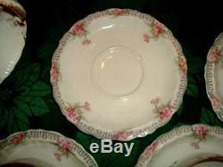 Antique 70 Pcs. China Set Theodore Haviland Limoges France-White withFlowers