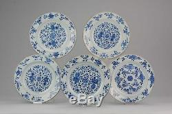 Antique Chinese 18C Period Blue White Dinner Set Flowers Floral