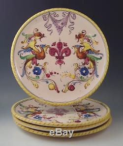 Antique Deruta Pottery Italy Raffaellesco Dragon Set Of 4 Dinner Plates
