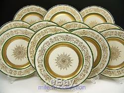 Antique European Royal Art Guild Dinner Plates Set Of 12