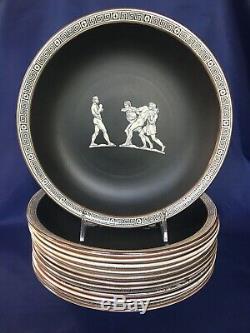 Antique F & R Pratt OLD GREEK Dinner Plates c. 1850 Set of 12