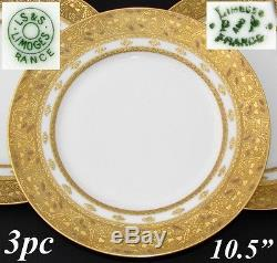 Antique French Limoges 3pc 10.5 Dinner Sized Plate Set, Gold Enamel Encrusted