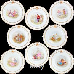 Antique French Sevres Porcelain Hand Painted Dinner Plates Set 1872