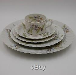 Antique Haviland Limoges Hand Painted Dinner Plate, Cup & Saucer Set 40 Pc