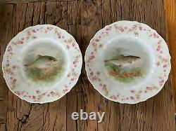 Antique LIMOGES Fish PatternDinner Set Of 10 Plates 8 1/3